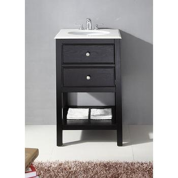 Fairfield Black 20-inch Bath Vanity and White Quartz Marble Top