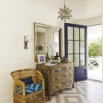 Diamond Pattern Floors, Cottage, Entrance/foyer, Charleston Magazine