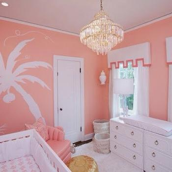 Coral Nursery Ideas, Hollywood Regency, Nursery, Sherwin Williams Jovial, Luxe Report