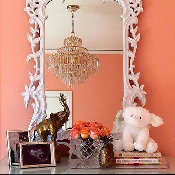 White Baroque Mirror, Hollywood Regency, Nursery, Sherwin Williams Jovial, Luxe Report