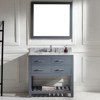 Caroline Estate 36-inch Grey Square Single Sink Italian White Carrara Marble Vanity Set