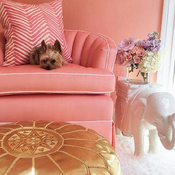 Pink Hollywood Regency Chair, Hollywood Regency, Nursery, Sherwin Williams Jovial, Luxe Report