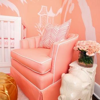 Pink Accent Chair, Hollywood Regency, Nursery, Sherwin Williams Jovial, Luxe Report