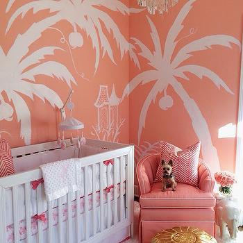 Coral PInk Nursery, Hollywood Regency, Nursery, Sherwin Williams Jovial, Luxe Report