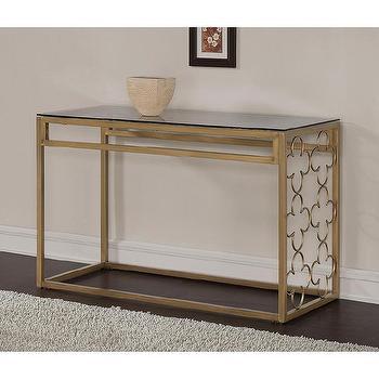 Quatrefoil Goldtone Metal and Glass Sofa Table