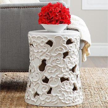 Abbyson Living Osla Antique White Ceramic Garden Stool