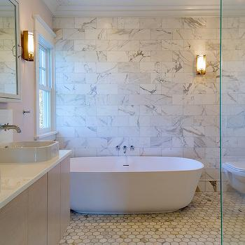 Bathroom with Marble Accent Wall, Transitional, Bathroom