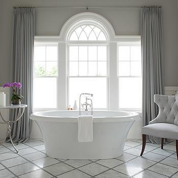 Diamond Pattern Floor Tiles, Transitional, Bathroom, Weitzman Halpern Design