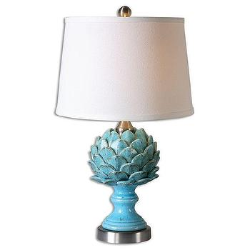 Cynara 1-light Crackled Sky Blue Table Lamp, Ceramic Artichoke Lamp