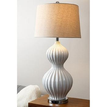Abbyson Living White Fluted Table Lamp