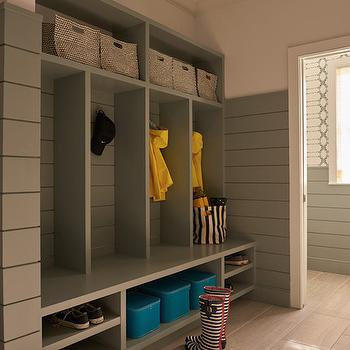 Gray Mudroom Built Ins, Contemporary, Laundry Room, Weitzman Halpern Design