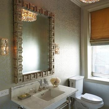 Greek Key Vanity Mirror, Transitional, Bathroom, Weitzman Halpern Design