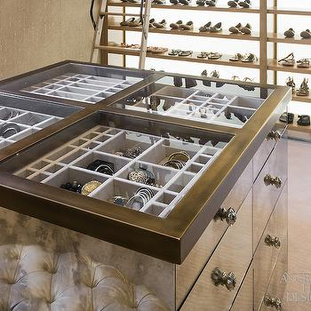 Glass Top Closet Island with Jewelry Drawers, Contemporary, Closet, Red Rock Contractors