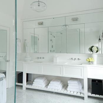 Built In Bathroom Vanity with Shelf, Transitional, Bathroom, Weitzman Halpern Design