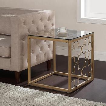 Quatrefoil Goldtone Metal and Glass End Table