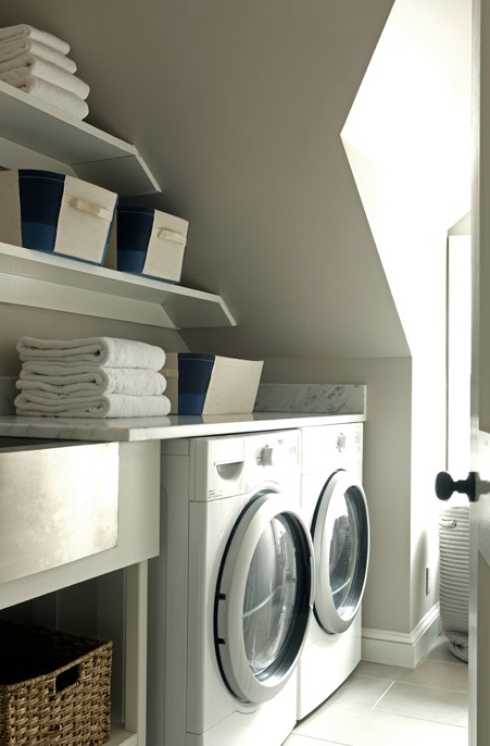 washer and dryer in nook transitional laundry room. Black Bedroom Furniture Sets. Home Design Ideas