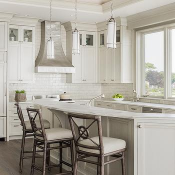Curved Kitchen Island with Curved Countertop, Transitional, Kitchen