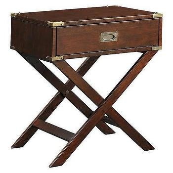 Borden Campaign Accent Table, Espresso Table