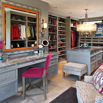 Gray Walk In Closet Design, Contemporary, Closet