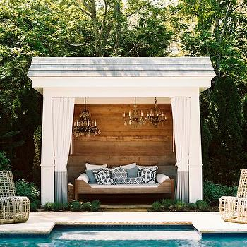 Pool Cabana with Chandeliers, Transitional, Pool