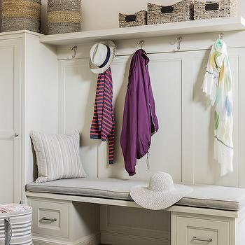 Shelf Over Mudroom Bench, Transitional, Laundry Room