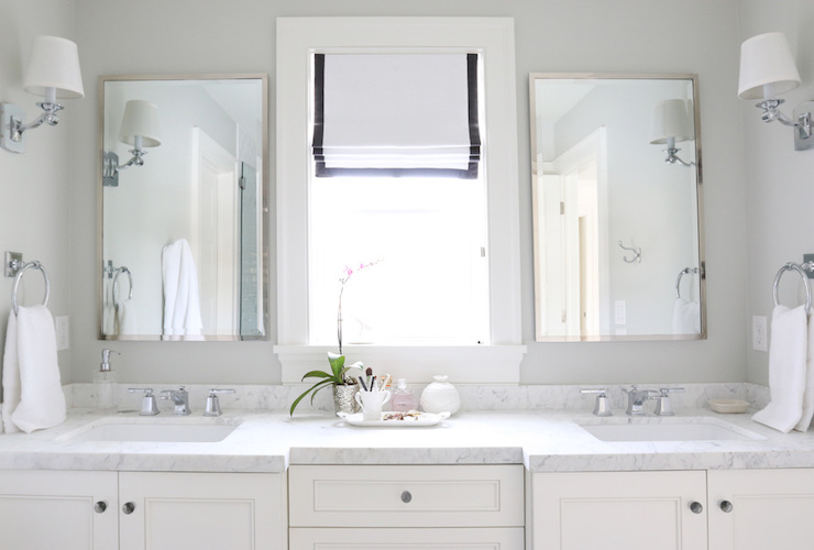 Polished nickel bathroom mirrors - Carrara Marble Countertops Transitional Bathroom