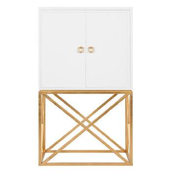 Worlds Away London White Lacquer and Gold Leaf Bar Cabinet