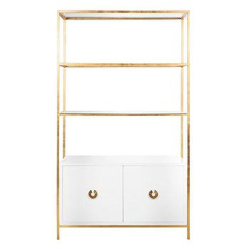 Worlds Away Wyeth White Lacquer and Gold Leaf Bar Cabinet