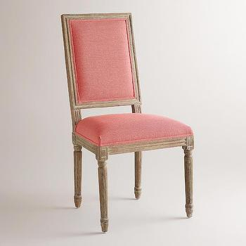 Coral Linen Paige Square, Back Dining Chairs