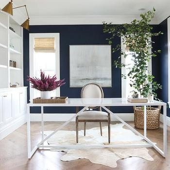 Office with Navy Blue Walls, Transitional, Den/library/office, Benjamin Moore Deep Royal