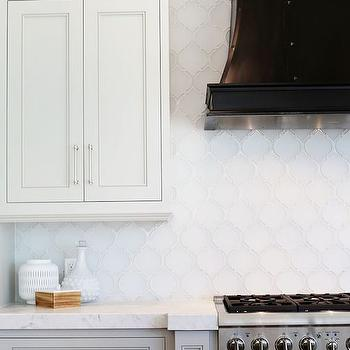 White Arabesque Tile Backsplash, Transitional, Kitchen