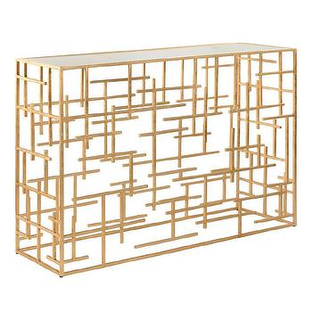 Worlds Away Jacob Gold Leaf Abstract Console Table