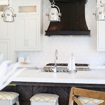 Black French Kitchen Hood with Studs, Transitional, Kitchen