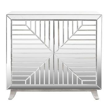 Worlds Away Aiden Silver Base Faceted Mirror Cabinet