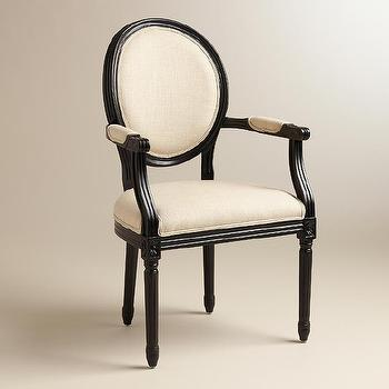 Natural Linen Paige Round Back Black Frame Armchair