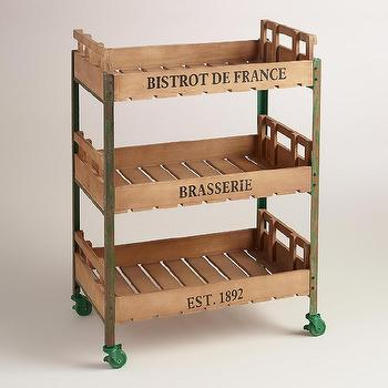 Green Metal and Wood Chantel Rolling Brasserie Cart