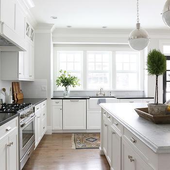 Honed Carrera Marble Countertops, Transitional, Kitchen, Benjamin Moore Classic Gray