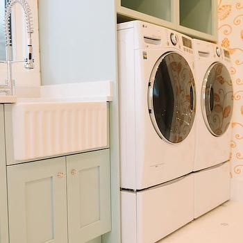 Green Laundry Room Cabinets, Transitional, Laundry Room