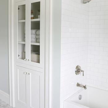 Inset Bathroom Cabinets, Transitional, Bathroom, Sherwin Williams Sea Salt