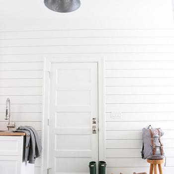 Slate Herringbone Floor, Transitional, Laundry Room, Benjamin Moore Simply White