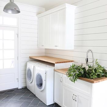 Laundry Room with Butcher Block Countertops, Transitional, Laundry Room, Benjamin Moore Simply White