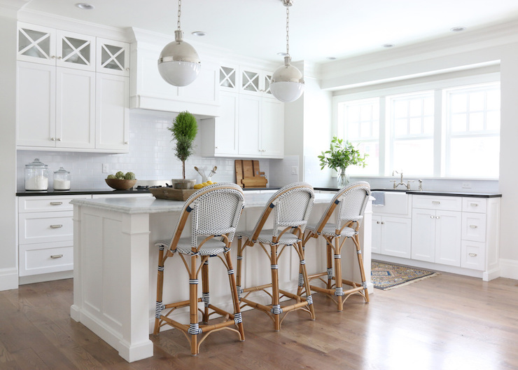 Serena And Lily Riviera Stools Transitional Kitchen