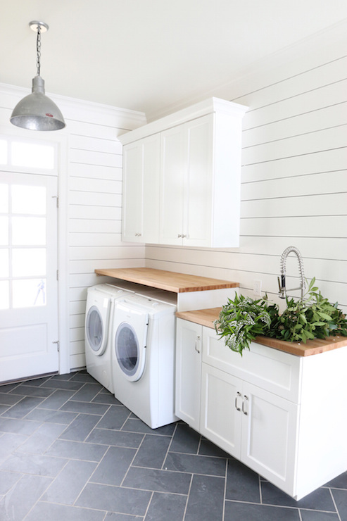 Laundry Room With Butcher Block Countertops Transitional