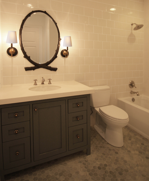 Black Oval Faux Bois Mirror, Transitional, Bathroom