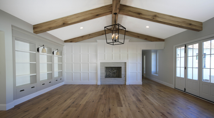 Living Room Ceiling Beams Transitional Living Room