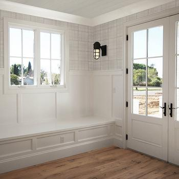 Mudroom Bench with Board and Batten, Transitional, Laundry Room