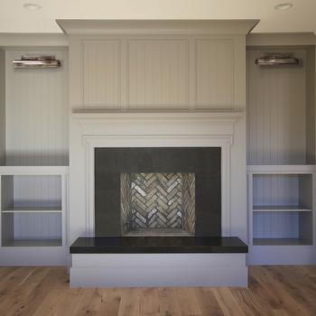 Fireplace with Gray Built Ins, Transitional, Bathroom