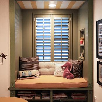 Kids Window Seat Reading Nooks, Transitional, Girl's Room