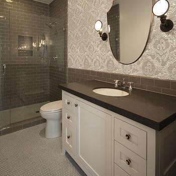 Dark Gray Subway Tiles, Transitional, Bathroom