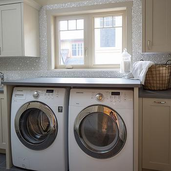Mosaic Bubble Tile, Transitional, Laundry Room